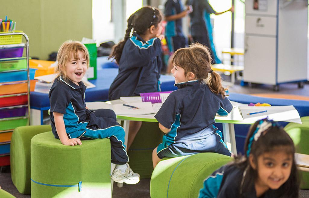 Students using Beparta's Flexible School Furniture