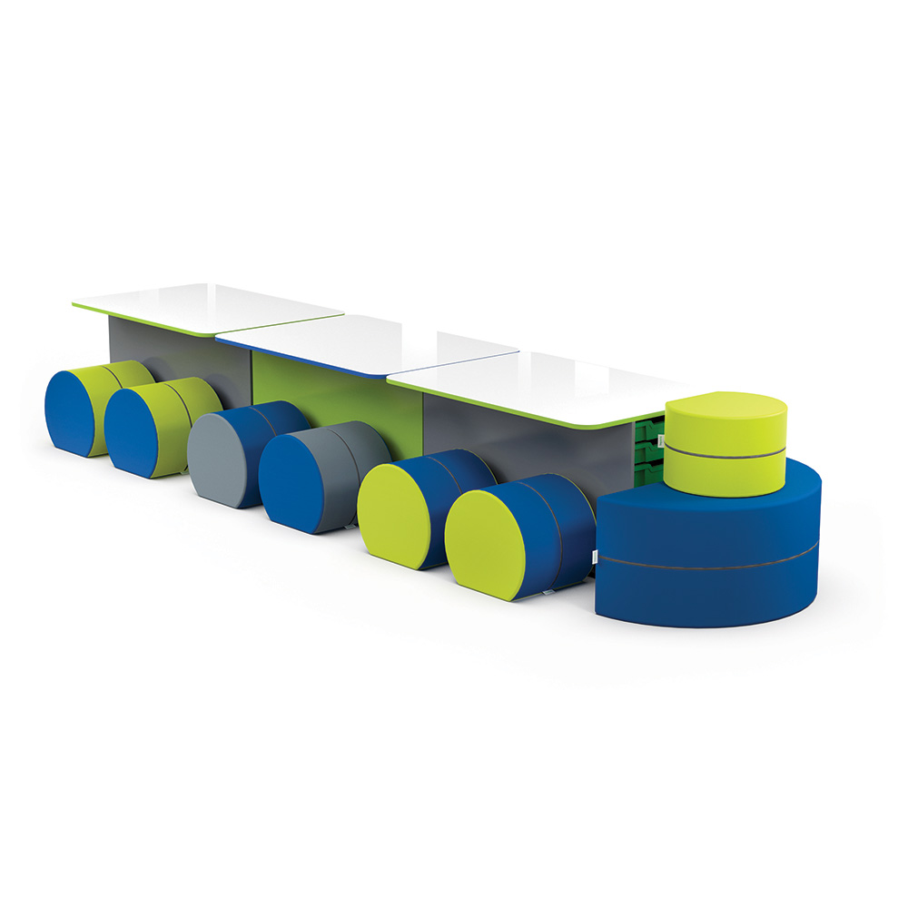 T-Table with Caboose Collection C006 | Beparta Flexible School Furniture